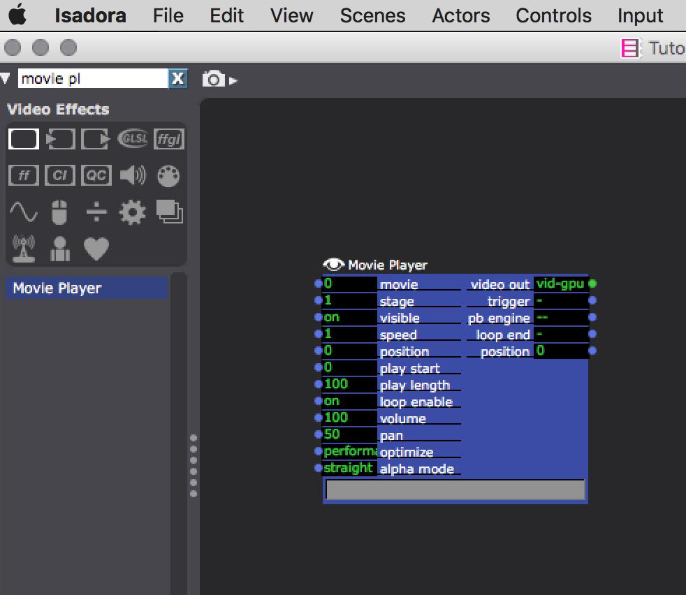 Usar el Movie Player en  Isadora 3